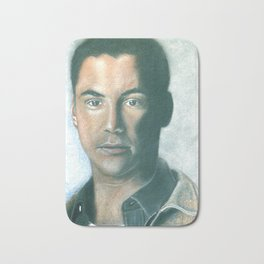 Keanu Reeves portrait with dry pastels Bath Mat
