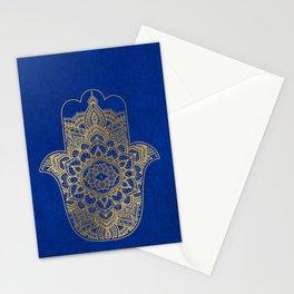 golden hamsa and mandala on classic blue Stationery Cards