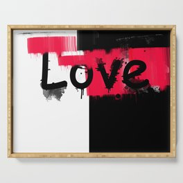 Black and red white pattern Love . Serving Tray