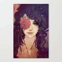 jenny liz rome Canvas Prints featuring Liz by Megan Lara
