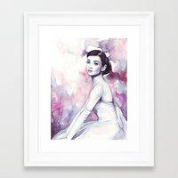 hepburn Framed Art Prints featuring Audrey Hepburn by Olechka