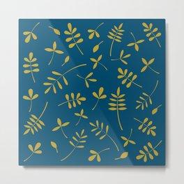 Gold Leaves Design on Teal Metal Print