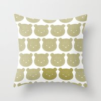 teddy bear Throw Pillows featuring Teddy by ColourMoiChic