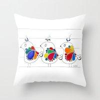 folk Throw Pillows featuring folk by Gosia&Helena
