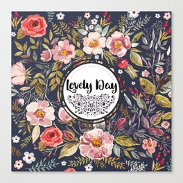 Pretty Floral Pattern with Lovely Day Typography Canvas Print
