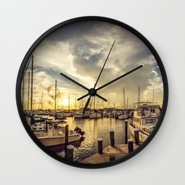 Summer Harbor Sunset Wall Clock