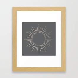 Simply Sunburst in White Gold Sands on Storm Gray Framed Art Print
