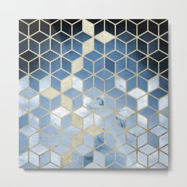 Shades Of Blue Cubes Pattern Metal Print