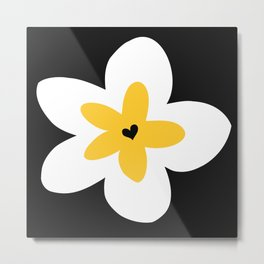 Yellow Plumeria (Black) Metal Print