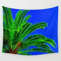 palm tree Wall Tapestries featuring Palm Tree by Phil Smyth