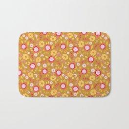 Autumn floral - mustard, ochre Bath Mat