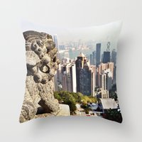 hong kong Throw Pillows featuring Hong Kong by amberino