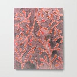 Coral Leaves Metal Print