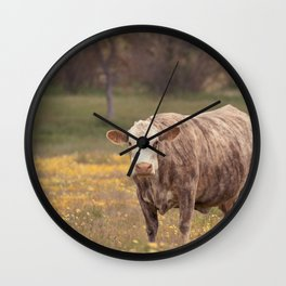 Cow in Wildflower Field Wall Clock