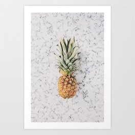 Pineapple on a Marble Surface Art Print