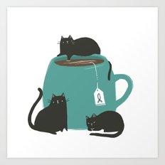 CATS + TEA Art Print