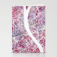 budapest Stationery Cards featuring Budapest map by MapMapMaps.Watercolors