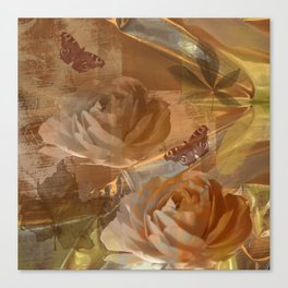 Textured flowers, leaves and butterflies art Canvas Print