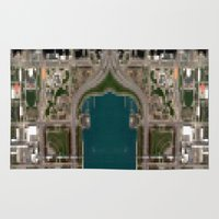 chicago map Area & Throw Rugs featuring Chicago by Mark John Grant