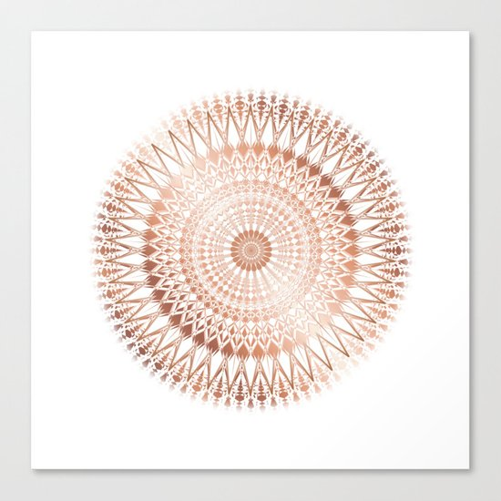 Rose Gold White Mandala Canvas Print