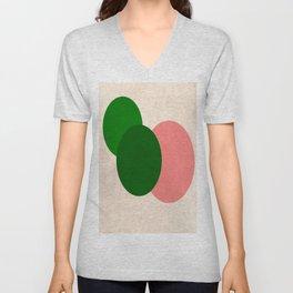 Peach Green Vintage Mod Circles Unisex V-Neck