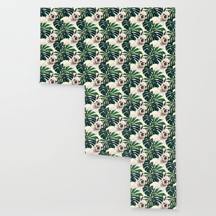 Sneaky Llama with Monstera Wallpaper
