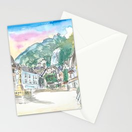 Hallstatt Romantic Market Place with Mountain and Waterfall Sound Stationery Cards