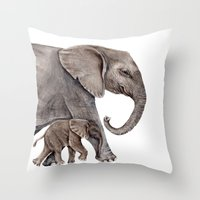elephants Throw Pillows featuring Elephants by Goosi