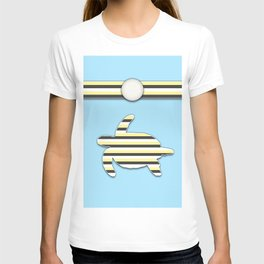 Sea Tortoise Blue and Yellow Stripe Pattern Design T-shirt