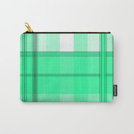 Shades of Light Green and Gray Plaid Carry-All Pouch