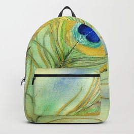 Abstract Peacock Feather Watercolor Backpack