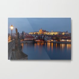 Prague castle and Charles Bridge Metal Print