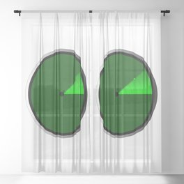 Radar Screen With A Green UFO Dot Sheer Curtain