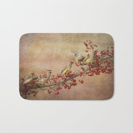 Cedar Waxwings Gathering Bath Mat