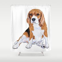 beagle Shower Curtains featuring Beagle by hadkhanong