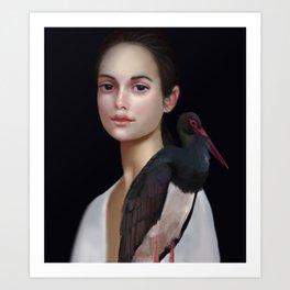 Miss Black Stork Art Print