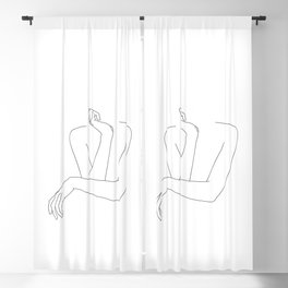 Minimal line drawing of woman's folded arms - Anna Blackout Curtain
