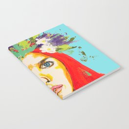 Red haired girl with flowers in her hair Notebook