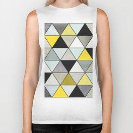 Colorful Concrete Triangles 2 - Yellow, Blue, Grey Biker Tank