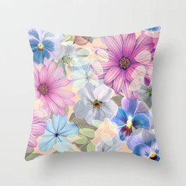 Pink and blue floral pattern Throw Pillow