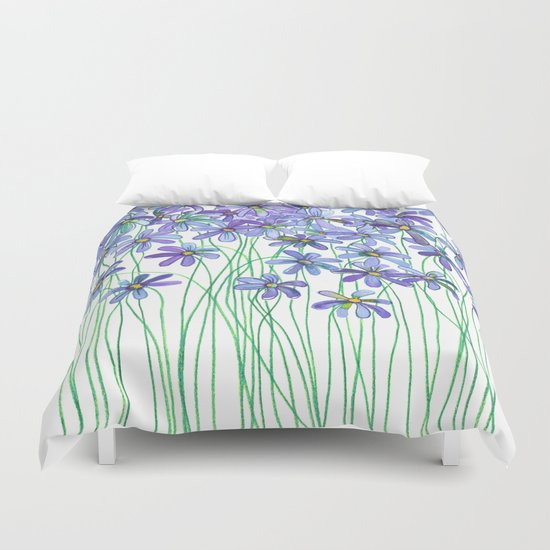 Purple Daisies in Watercolor & Colored Pencil Duvet Cover