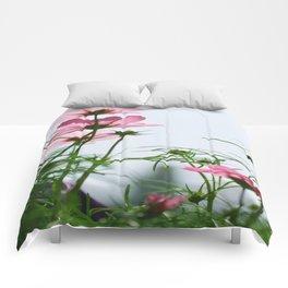Pink Flowers Blue Sky Comforters