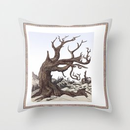 ANCIENT PINE SNAG VINTAGE PEN DRAWING Throw Pillow
