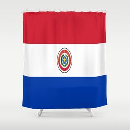 flag of paraguay -paraguyan,asuncion,spanish, south america, latin america,pan flute,coffee,forest Shower Curtain