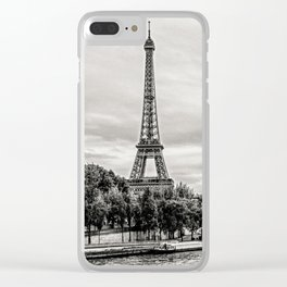 Eiffel Tower and boats on Seine river in Paris, France Clear iPhone Case