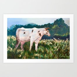 Ranch Landscape With Cow Art Print