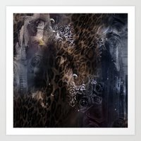 Leopard with roses Art Print