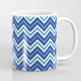 Chevron Pattern | Zig Zags | Blue, Black and White | Coffee Mug