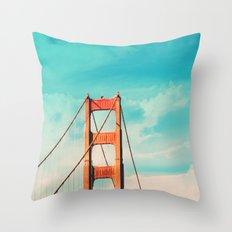 Retro Golden Gate - San Francisco, California Throw Pillow