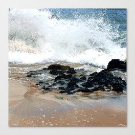 Hawaiian Tropical Beach Rugged Ocean Surf on Sand Canvas Print